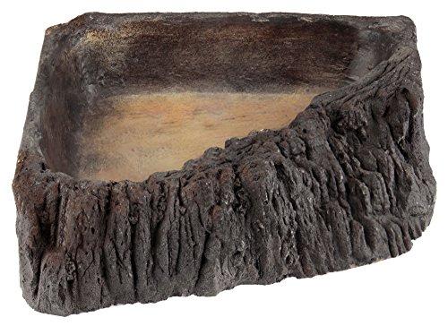 Acuami Reptilien Ecknapf L Holzoptik als Wassernapf, Futternapf und Badeschale für Geckos, Schildkröten, Schlangen, Terraristik Zubehör