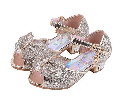 Brinny Enfants Fille Fantasy Princesse chaussures à talon haut Paillettes Mignon Arc Fille Sandales Twinkle Velcro Straps Robe Pompes Bleu / Pink / Or / Argenté 12 Tailles: 26-37 Or