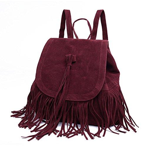QPALZM Tassel Fashion Plüsch Freizeit Reisen Schulter-Rucksack Black