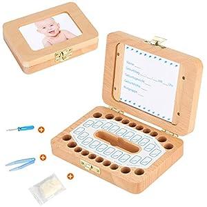 Luchild Milchzahn Box Holz Zahnbox [Deutsch Version] Milchzähne Zahndose deutsch Milchzahndose Zahndöschen für Kinder