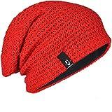FORBUSITE Bonnet Homme Hiver,Chapeau Long Jersey Chaud Casquette-Baggy-Leger-Mode-Ski-Femme(B08b-Rouge)