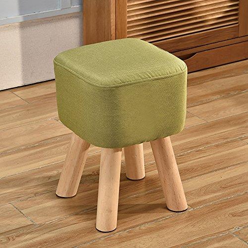 LJHA Tabouret pliable Repose-pieds en bois massif/tabouret de chaussure salon créatif/tabouret canapé en tissu 5 couleurs disponibles chaise patchwork (Couleur : Vert)