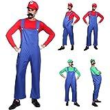 CLE DE TOUS - Disfraz de Mario Bros para Adulto hombre Cosplay Dress Fiesta Carnaval Halloween Talla M (40) L (42) (Talla M (40))