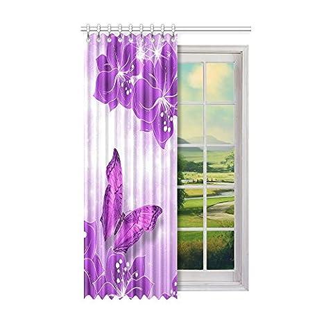 Custom Noir et papillon (1) Rideau de fenêtre 127cm (L)