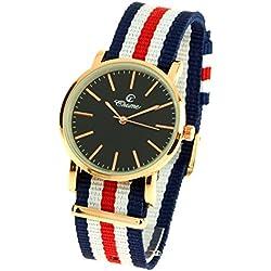 montre-concept-Multi-Coloured Round Colour Rose Gold Black Dial Nylon Bracelet Men's Analogue Watch-mab-1-0088
