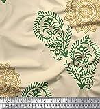 Soimoi Gelb Samt Stoff Paisley, Blätter und Blumen-Mandala