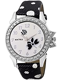 Matrix Analog White Studded Dial, Black & White Leather Strap Watch For Girls & Women's- (WN-35)