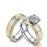 Beglie 6MM 2 Stück Edelstahl Ring für Paare Partnerringe Edelstahl Bicolor Silber Gold Verlobungsring Schwarz Matt für Frauen Männer Frau:49 (15.6) & Mann:62 (19.7)