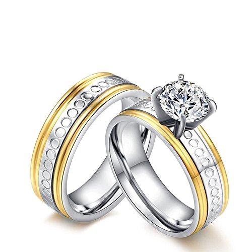 Anazoz 2pcs fedi nuziali acciaio inossidabile alta lucido anelli fedine oro donna misura 15 & uomo misura 22
