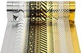 Washi Tape Masking Noel Fete Cadeau Tape Lot de 12 Noir/doré pour scrapbooking DIY (par rouleau de 15 mm x 10 m)