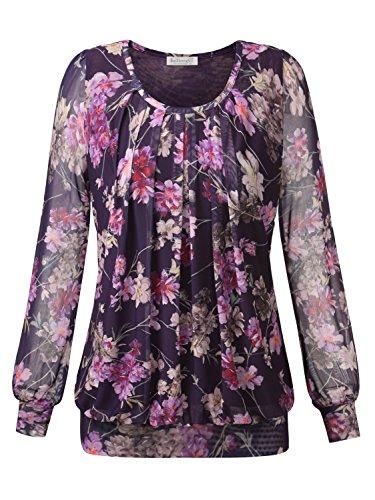 Rose Damen Henley (BAISHENGGT Damen Langarmshirt Rundhals Falten Shirt Stretch Tunika Lila-Rose XL)