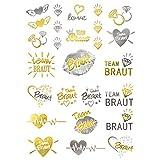 Oblique Unique® Temporäre Klebetattoos JGA Junggesellinnenabschied Tattoo Set Braut - Team Braut Hochzeit Silber Gold