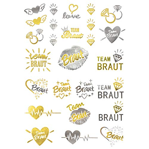 poräre Klebetattoos JGA Junggesellinnenabschied Tattoo Set Braut - Team Braut Hochzeit Silber Gold ()