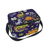 Alinlo Halloween Jurassic Dinosaur Fossil lunch bag, cerniera borsa frigo termica, scatola per il pranzo pasto Prep borsetta per picnic scuola donne uomini bambini