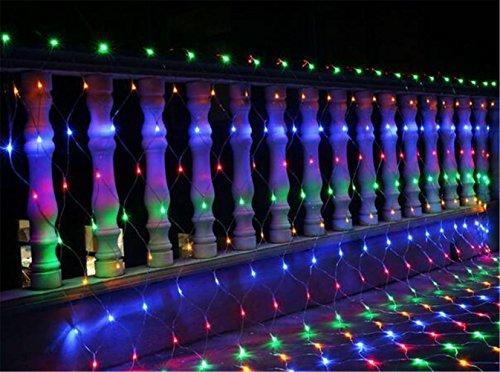 W-ONLY YOU-J LED-Lichternetz Dekoration net Lichter Farbe Lichter 8 Modi für Outdoor Weihnachtsbaum Garten Patio Parque 2mx3m 200 LEDs (Color)