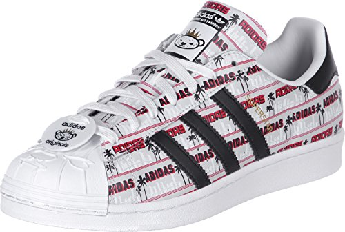 newest ffb52 04350 Adidas Superstar Nigo Bearfoot uomo, pelle liscia, sneaker bassa Bianco -Nero-Grigio