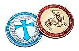 Templar Set 2x Medaille Gold & versilbert Token Knight Faith zum Sammeln & Gedenkmünzen Honor Geschenk