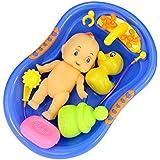 Vococal - 6 piezas Muñeca Bebé Plástico en Bañera Tina de Baño con Set de Accesorios de Ducha / Finja el Juego Juguete para Kid Niños,Color al Azar