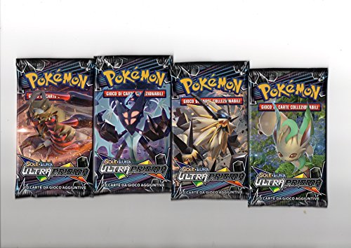 Lotto 4 buste/bustine Pokémon POKEMON SOLE E LUNA ULTRA PRISMA: nuove, sigillate e in italiano!!!