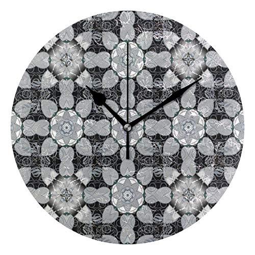 LISUMAL Motivi caleidoscopici Tradizionali Vecchio Stile,Sveglia Rotonda Senza Scala da 25 cm per Uso Domestico, Display da Parete a Doppio Uso, Stile retrò Rustico colorato Chic