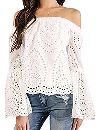 0123ebb8bf Camiseta Mujer ❤ Amlaiworld Blusa con Hombros Descubiertos Hueco Sexy Mujer  Suelto Camiseta Casual de