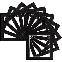 Caja de memoria de 4 unidades – Instagram Square Cortados por ordenador, soportes para fotografías/marcos – Tamaño 8 x 8 Tamaño de montaje 10 x 10 cm – Color negro