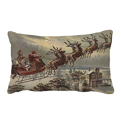 ❤️ Funda de Almohada Navidad Halloween, Funda de Almohada de Navidad Sofá Suave Cojín Decoración del hogar Funda de Almohada Cojín de Cintura Absolute