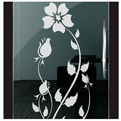 De Rose Designs Bad (DD Dotzler Design 2111-13 Fenster Milchglas Motiv Blume Rose floral Blumen Milchglasfolie Glas Aufkleber Sichtschutz)