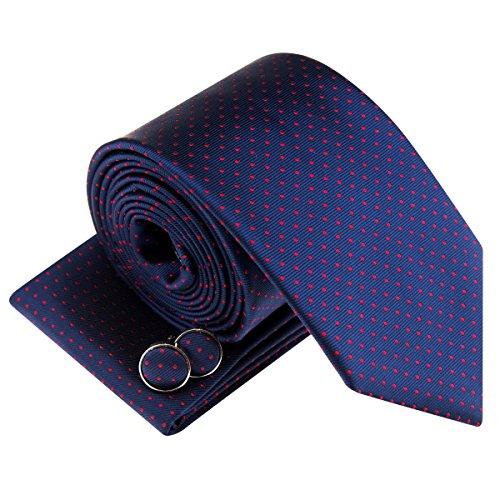 Juego de corbata, pañuelo y gemelos, tejido con diseño de pequeños lunares azul Navy Blue with Red Dots Talla única