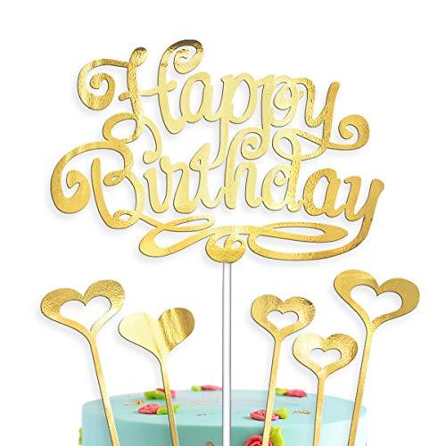 Kuchendekoration Happy Birthday Gold with 5 Hearts