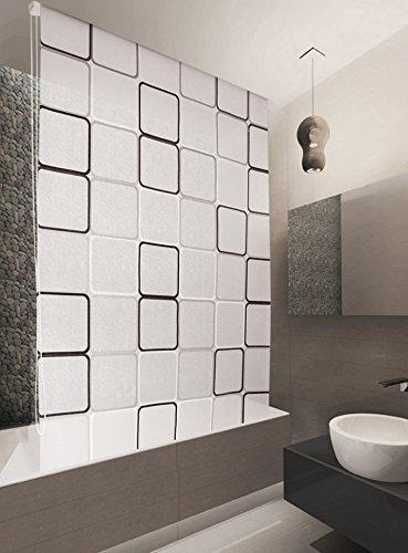 Duschrollo grau, weiß, schwarz (Quadro) 100x240 cm thumbnail