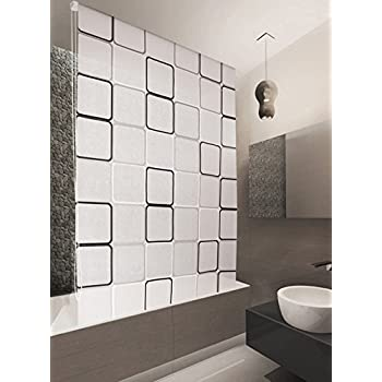 basic duschrollo 160x240 cm modell quadro duschvorhang grau weiss schwarz shower rollo curtain. Black Bedroom Furniture Sets. Home Design Ideas