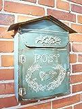 windschief-living Briefkasten aus Metal im Landhaus Shabby chic Stil, blau-türkis