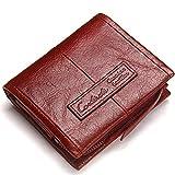 LYDZ-Taschen Herren Brieftasche Leder Tri-Fold Clutch Crazy Horse Leder Aktivität Reißverschluss...
