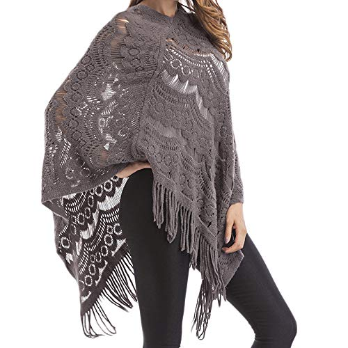 ZARLLE_Mujer Suéter Poncho para Mujer
