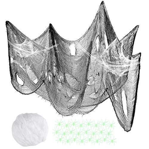 SUPVOX Gruseltuch Halloween Dekoration Haunted House Gaze mit 100g Web und 100pcs Luminous Spider