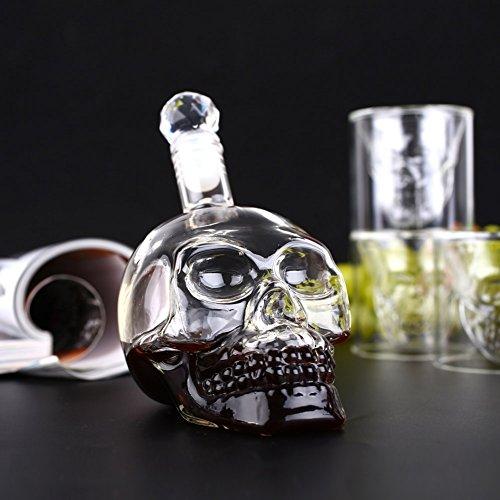 Amzdeal Skull Glas Flasche, Totenkopf Flasche 350ml mit 6 Schädel Gläser 75ml, Schädelflasche mit Whisky Vodka oder Schnapsgläser - 3