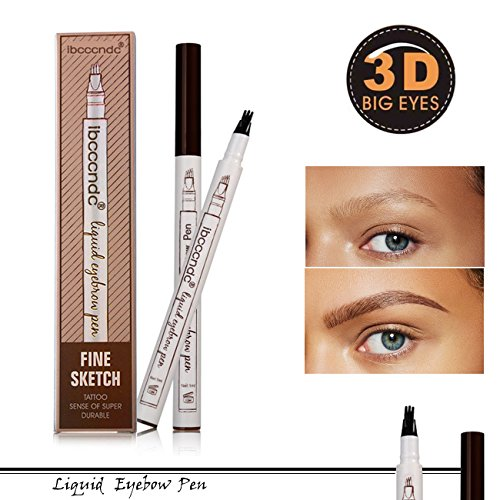 Fork Tattoo Crayon a Sourcil tatouage crayon à sourcils avec 4 conseils longue durée imperméable à leau gel pour les yeux Maquillage (Chestnut)