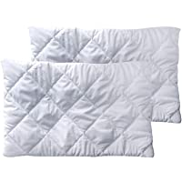 Home Beautiful Hypoallergenic Cotton Satin Quilt Pillow Protector Cover, 18 X 28 Inches, White (2) -Pack of 2