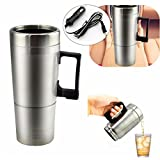 RISHIL WORLD 12V 300ml Portable in Car Coffee Maker Tea Pot Vehicle Thermos Heating Cup Lid