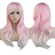 S-noilite Fashion Womens Long Wig Wavy Curly Hair Harajuku Style Cosplay Anime Full Wigs (Mix Pink White) by S-noilite