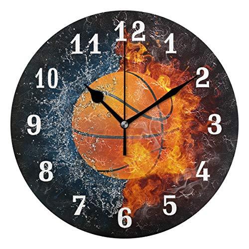 DOSHINE Wanduhr, Basketball, Sport, leise, Nicht tickende Uhr, Schlafzimmer, Wohnzimmer, Küche, Heimdekoration