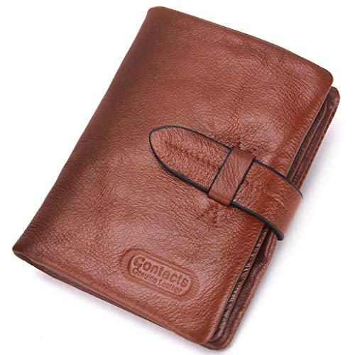 Brieftasche Herren, Mens Wallet Echtes Leder Geldbörse für Männer Slim Hasp Kartenhalter mit ID Fenster Bifold Retro Geldbörse (Farbe : Brown) -