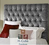 """H-Cube Furniture Chesterfield Upholstered Tufted Divan Bed Base Headboard Crushed Velvet - Matching/Diamante Buttons - 24/26/30/36 Inches Height Option (60/66/76/92 CM Approx) Thickness 2 Inches (Approx) With Struts & Fixings - 8 Colors Available (Silver - Diamante 5FT King Size-36"""")"""