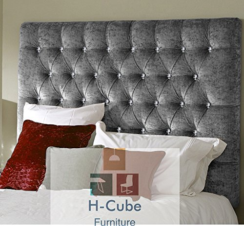 30 Inches Height H-Cube Headboard Romanian Chesterfield Divan Bed Headboard Ice White Color Crushed Velvet 3FT 76 CM approx - Diamante Buttons With Struts and Fixings