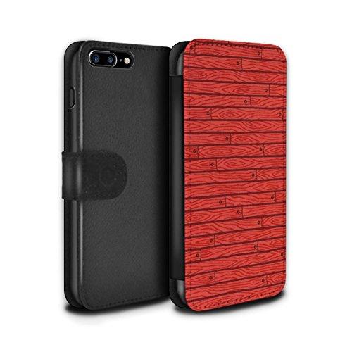 Stuff4 Coque/Etui/Housse Cuir PU Case/Cover pour Apple iPhone 7 Plus / Turquoise Design / Motif Bois Collection Rouge