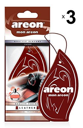 Areon Mon Ambientador Coche Cuero Colgante Colgar Olor Perfume Original Marrón Cartón Retrovisor Casa Oficina 2D ( Leather Pack de 3 )