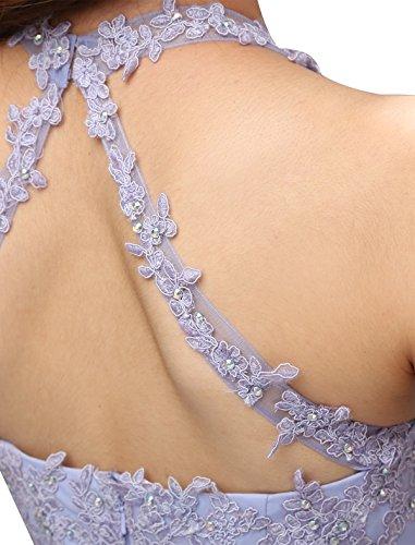 Dressystar Robe femme, Robe de bal courte dos nu, aux appliques strass à fleur, en mousseline Bleu