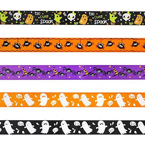Supla Ripsband für Halloween, 2,5 cm breit, 2,54 m, Schwarz/Orange / Violett Ghost Spider bedruckt, Ripsband, dekoratives Halloween-Geschenkband, für Kranz, Girlande Feiertagsparty (Diy Halloween Kränze)