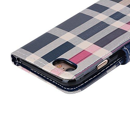 Voguecase Pour Apple iPhone 7 4,7 Coque, Étui en cuir synthétique chic avec fonction support pratique pour iPhone 7 4,7 (Grille irrégulière-Noir)de Gratuit stylet l'écran aléatoire universelle Grille irrégulière-Bleu